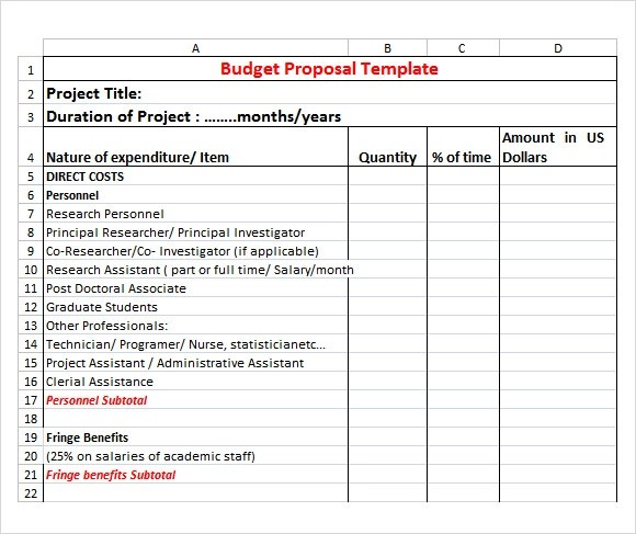 Budget Proposal Template - 17+ Free Download for PDF , Word , Excel - proposal template for word