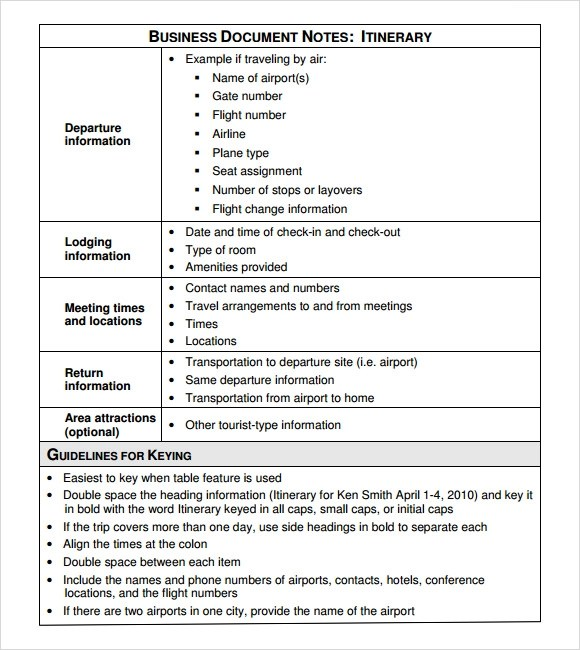 Business Itinerary Template - 7+ Download Free Documents in PDF - business itinerary template