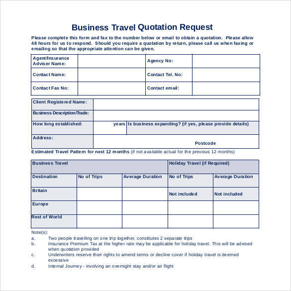 Quotation Template - 44+ Documents in PDF, Word, Excel - travel quotation sample