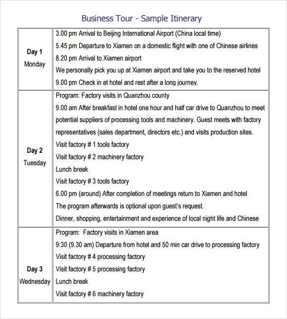 7 Sample Trip Itinerary Templates to Download Sample Templates - sample itinerary templates