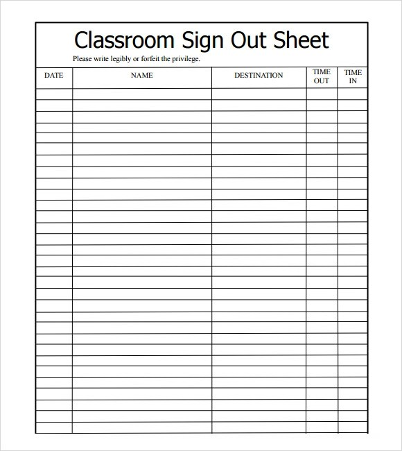 Sample Sign Out Sheet Template - 12+ Free Documents Download in - excel sign in sheet template