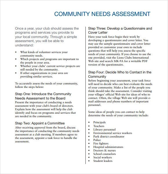 Community Needs Assessment - 8+ Free Download for PDF - needs assessment templates