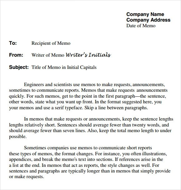 Company Memo Template Meeting Memo Templates Free Sample Example