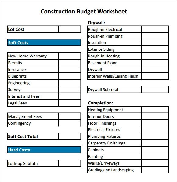 9+ Construction Budget Samples - PDF, Word, Excel