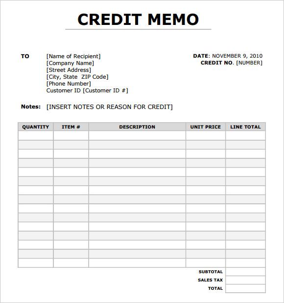 7+ Credit Memo Templates Sample Templates
