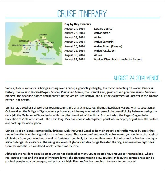 Sample Cruise Itinerary - 7+ Documents in PDF, Word