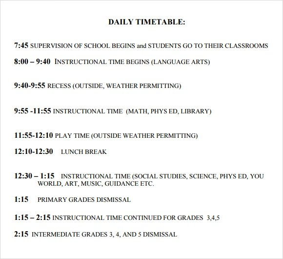 daily study schedule template - daily timetable template