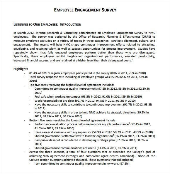 Employee Engagement Survey - 13+ Download Free Documents in PDF , Word