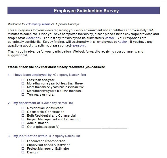 Doc600804 Job Satisfaction Survey Template Job Satisfaction – Free Survey Templates