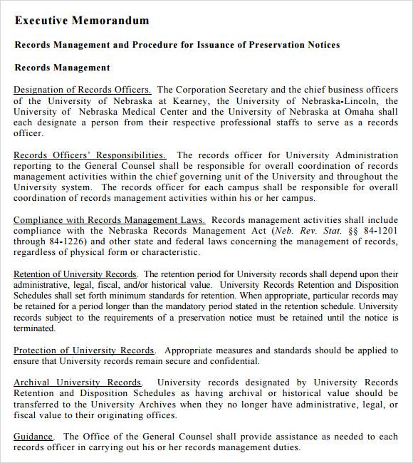 Sample Executive Memo - 10+ Documents in PDF, Word, Google Docs