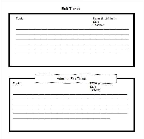 11 Sample Exit Ticket Templates to Download Sample Templates