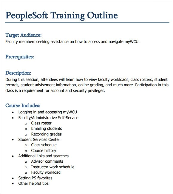 Course Outline Template Word - training outline template