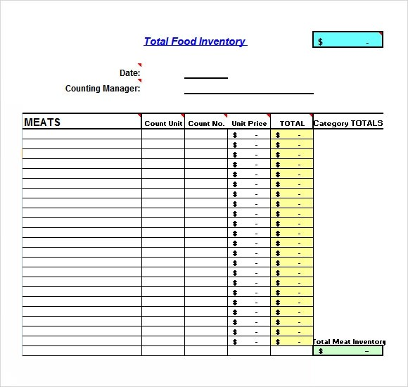 Sample Food Inventory - 7+ Document in PDF, Excel - food inventory template