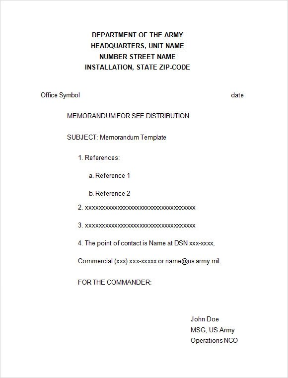 6+ Formal Memorandum Samples Sample Templates - formal memo template