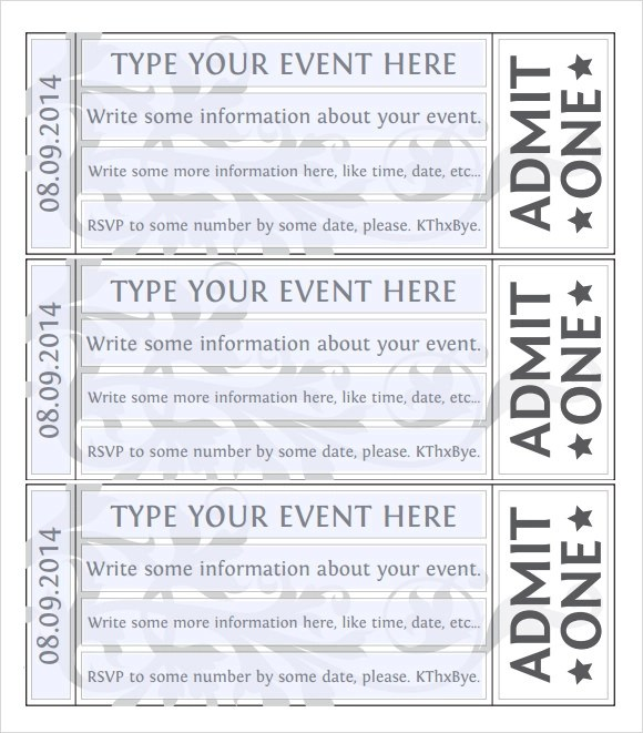 microsoft word event ticket template trattorialeondoro - Microsoft Word Event Ticket Template