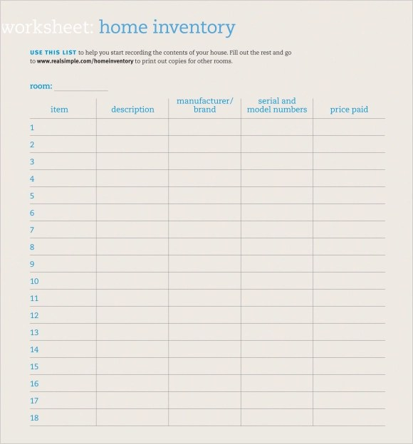house inventory list template – Rental Inventory Template