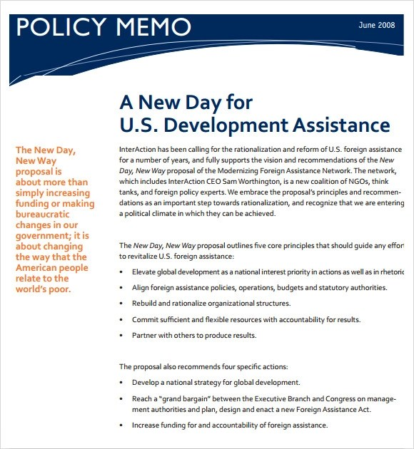Strategy Memos Strategy Memo Template Sample Policy Memo - 9+ - policy memo template