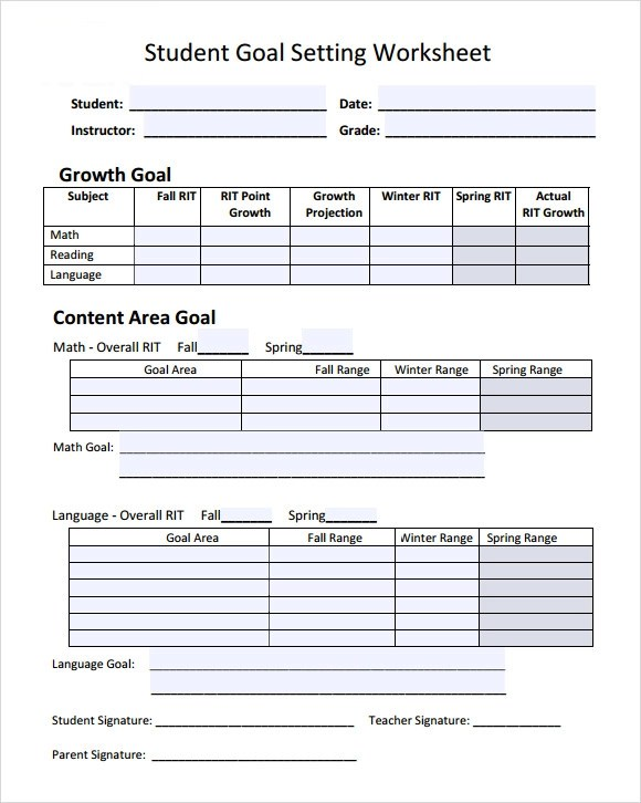 13 Sample Goal Setting Templates to Download Sample Templates - goal setting templates