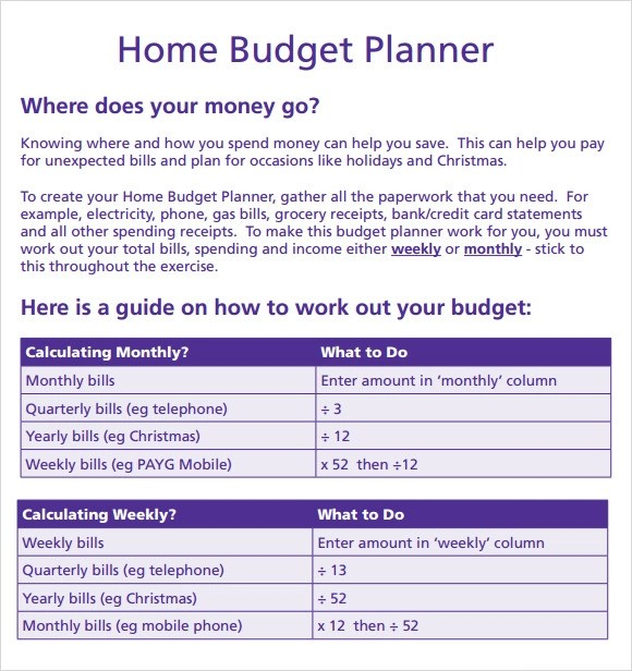 Budget Planner Template - 8 Free Download for PDF , Excel - spending plan template