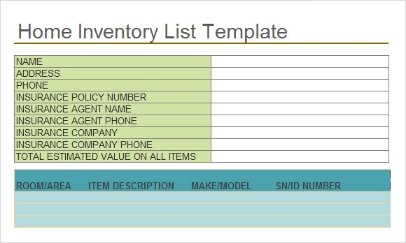 insurance inventory list - Baskanidai