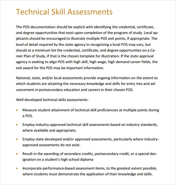 8 Sample Skills Assessment Templates to Download for Free Sample - technical assessment template