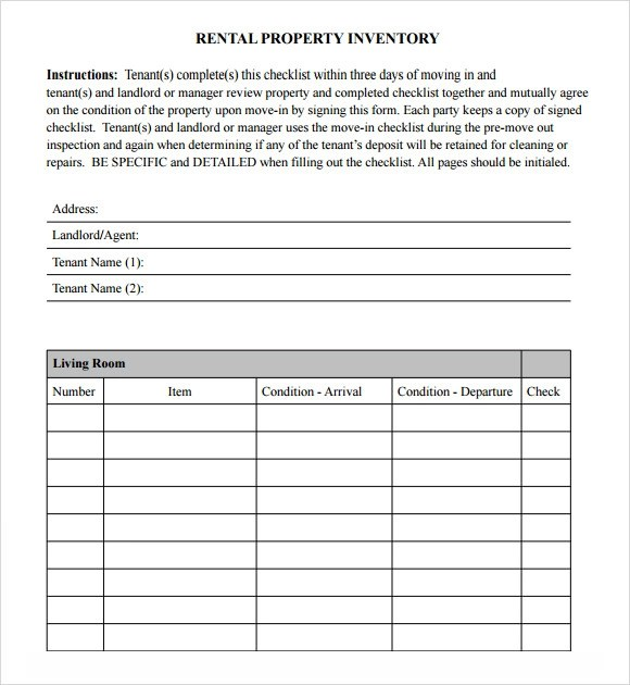 Sample Inventory Checklist - 16+ Documents in Word, Excel, PDF - property inventory template