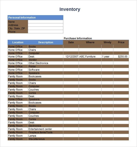 Sample Inventory Spreadsheet Template - 8+ Free Documents Download