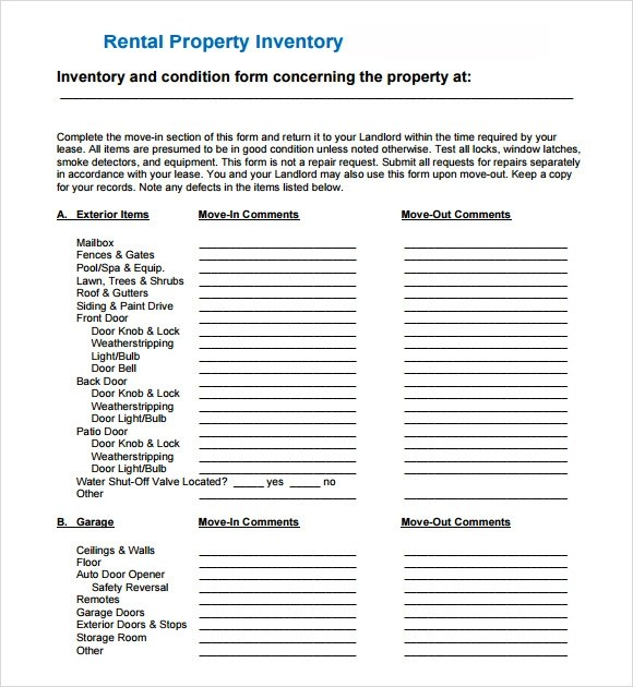 6 Sample Landlord Inventory Templates to Download Sample Templates - landlord inventory template