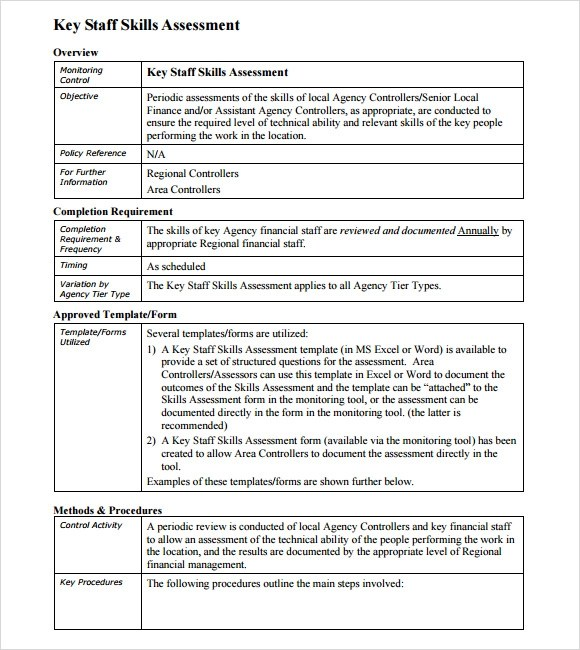 Skills Matrix Template – Skills Assessment Template