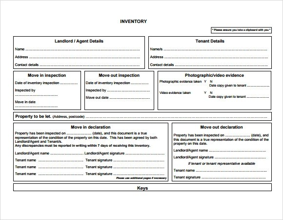 13+ Rental Inventory Templates Sample Templates - inventory form template