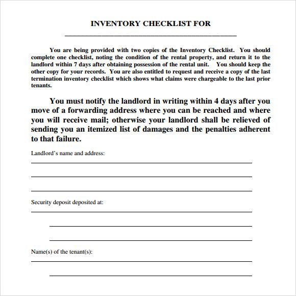 Inventory List For Landlords madebyrichard - landlord inventory template