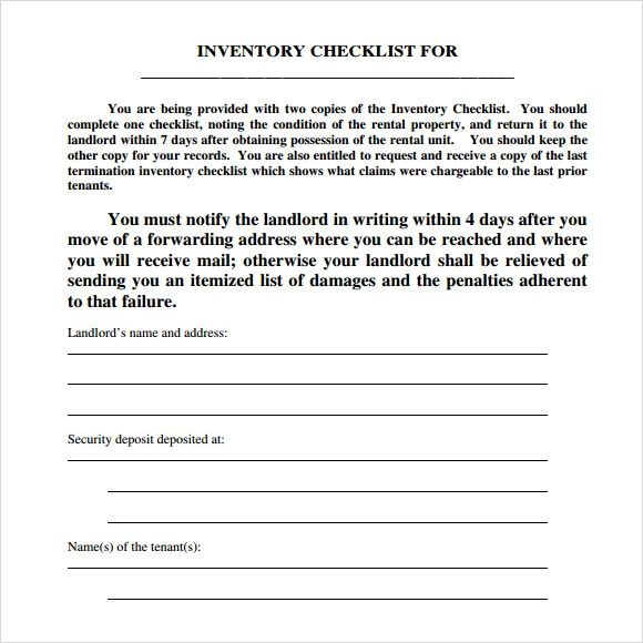 landlord inventory template unfurnished