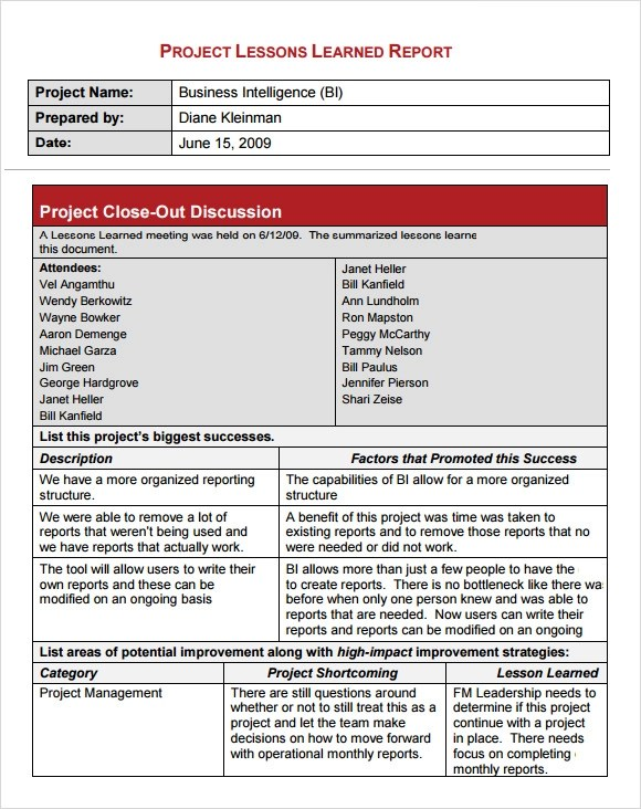 lessons learned template examples - project report template word
