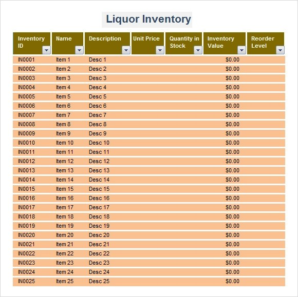 9 Sample Liquor Inventory Templates to Download Sample Templates - inventory form template