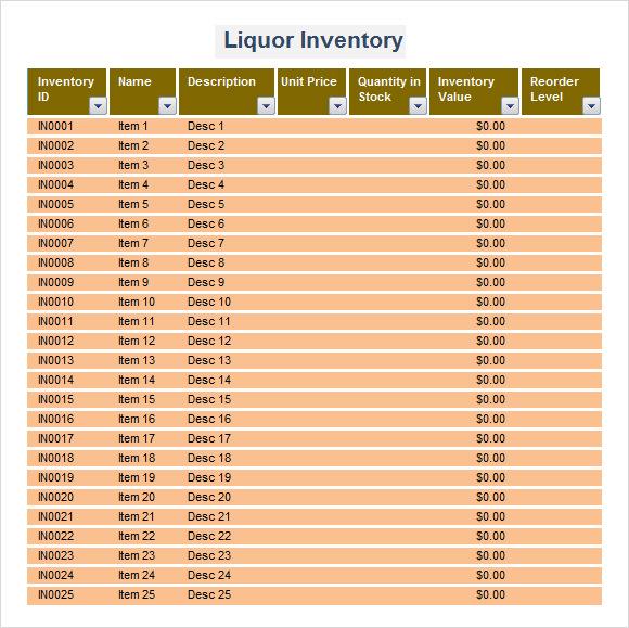 liquor store inventory list