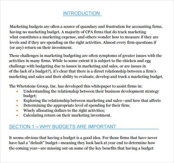 sample marketing budget template
