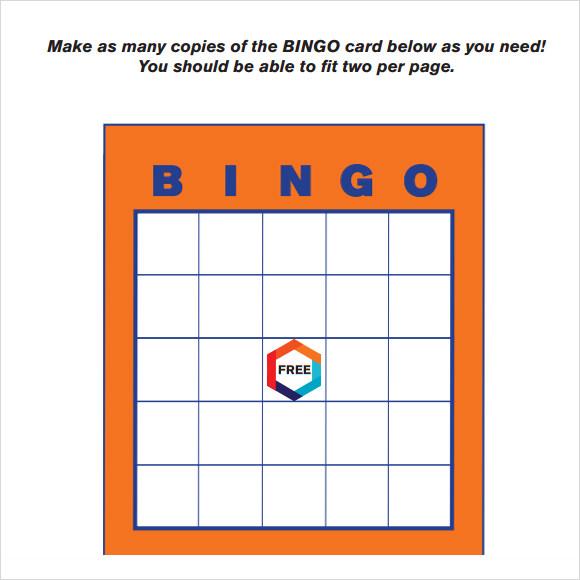 9+ Blank Bingo Samples Sample Templates - blank bingo card template