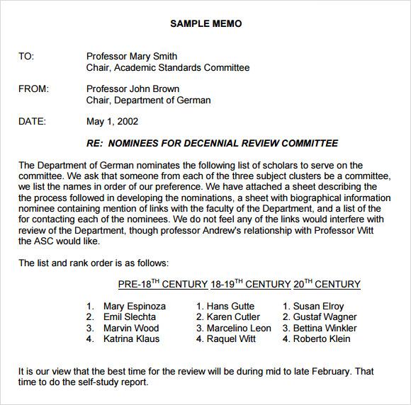 Sample Formal Memorandum - 6+ Documents in Word, PDF, Google Docs