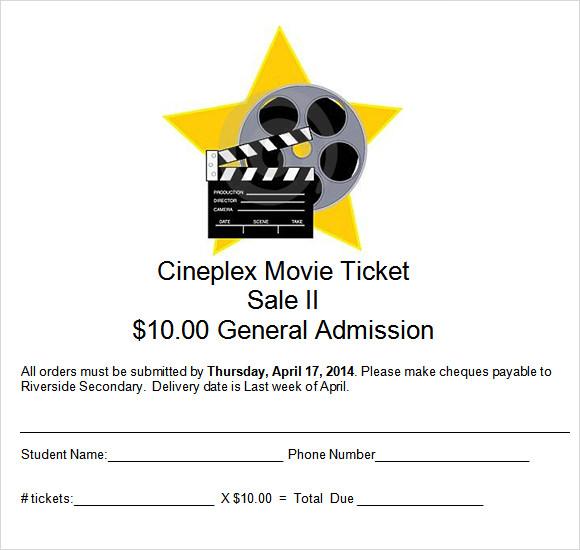 Movie Ticket Template - 9+ Premium and Free Download for Word - movie ticket template for word