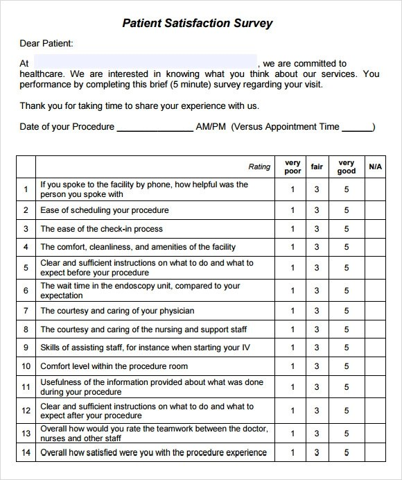 11 Sample Patient Satisfaction Survey Templates to Download Sample - Patient Satisfaction Survey Template