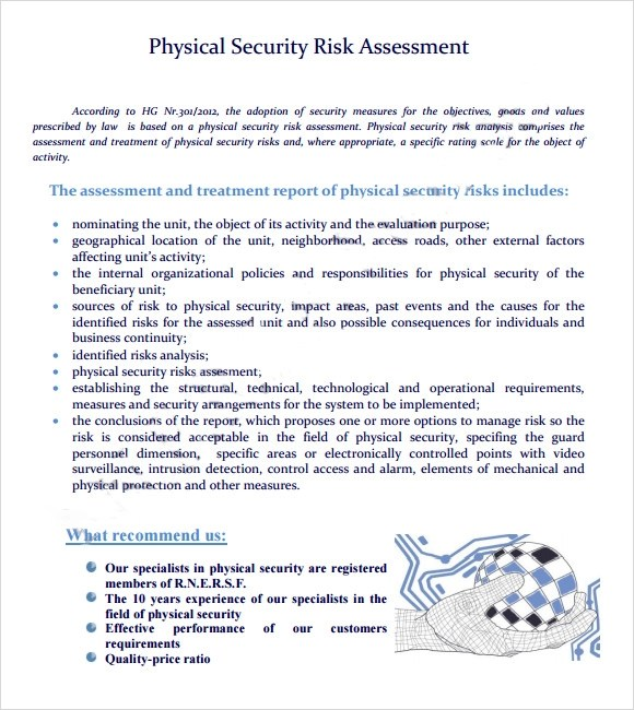 Sample Security Risk Assessment  2013 6+ Example, Format - sample security risk assessment
