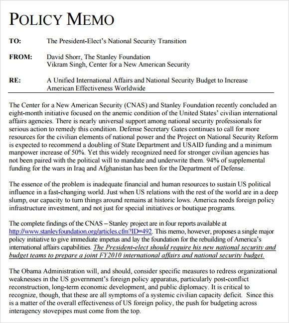 13 Sample Policy Memos Sample Templates