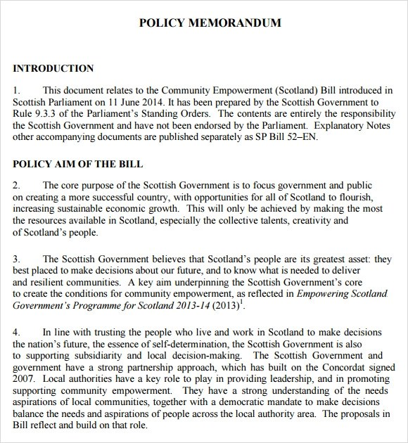 sample policy memo - Goalgoodwinmetals