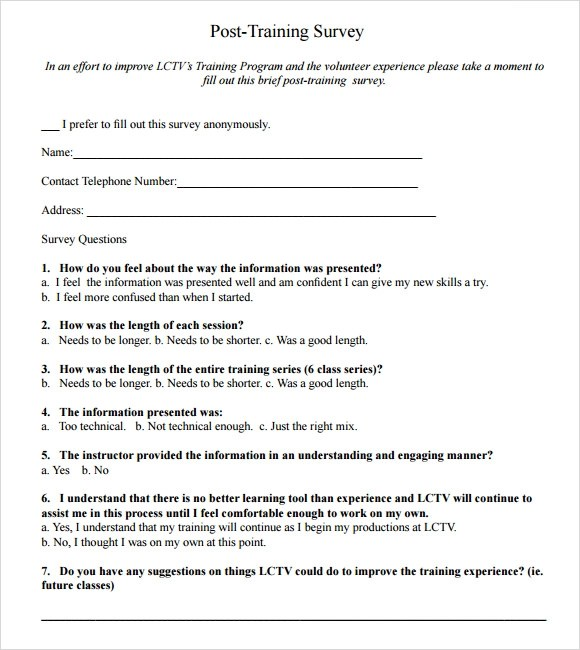 Post Training Feedback Form Questions – Training Feedback Template