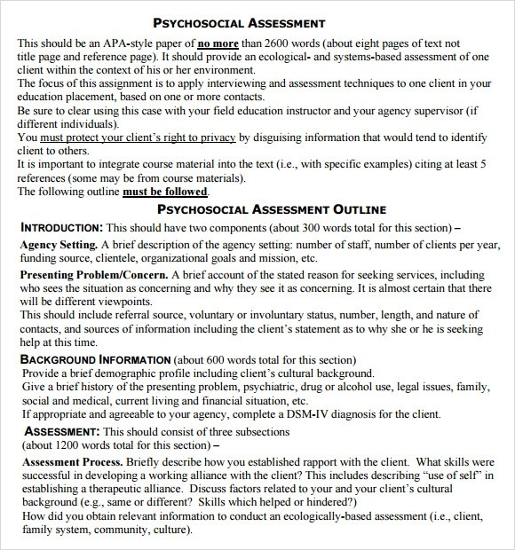 Assessment Example 3 Capital Needs Assessment Example Employee - psychosocial assessment template