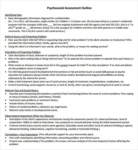 9+ Sample Psychosocial Assessments \u2013 PDF, DOC Sample Templates - psychosocial assessment