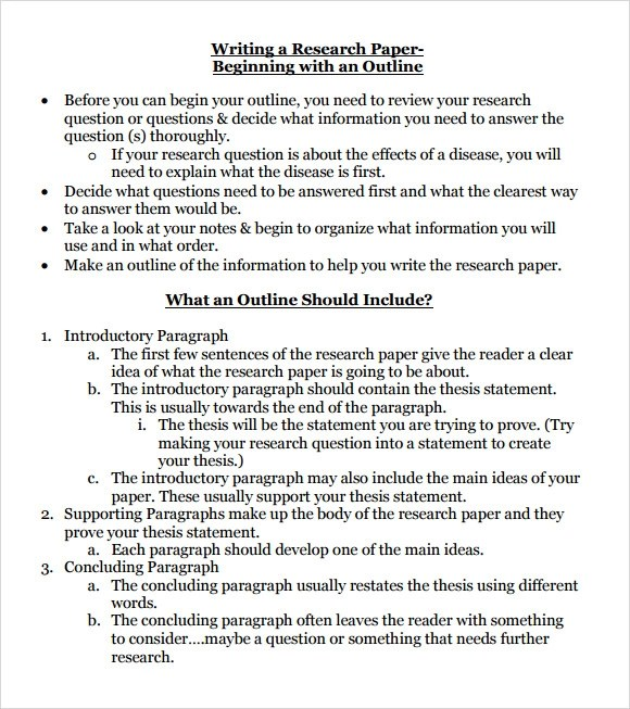Sample Research Paper Outline Outline Example Essay BfBBACAdUPaper