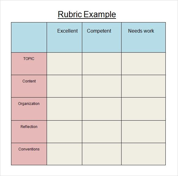 rubric templates for word