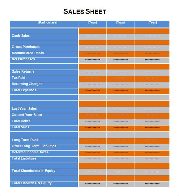 Lead Sheet Template – Sample Sales Sheet
