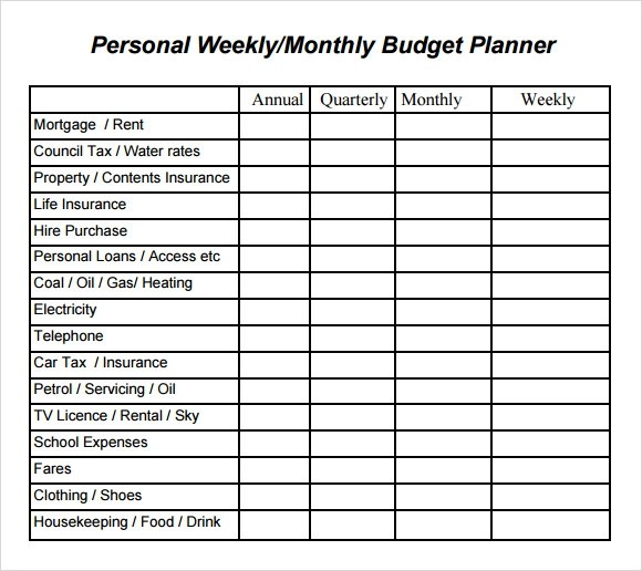 personal budget calculator excel